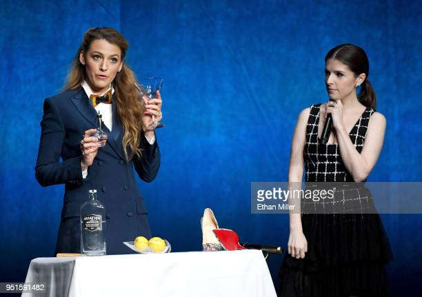 Actors Blake Lively and Anna Kendrick speak onstage during CinemaCon 2018 Lionsgate Invites You to An Exclusive Presentation Highlighting Its 2018...