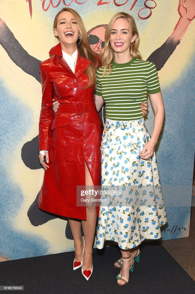 Actors Blake Lively (L) and Emily Blunt attend the Michael Kors fashion show during New York Fashion Week at Vivian Beaumont Theatre on February 14, 2018 in New York City.