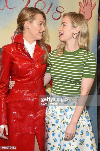 Actors Blake Lively and Emily Blunt attend the Michael Kors fashion show during New York Fashion Week at Vivian Beaumont Theatre on February 14 2018...