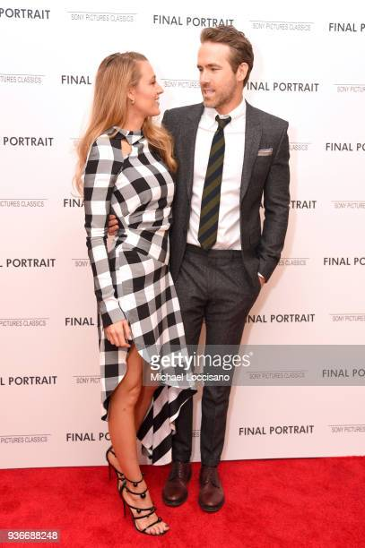 """Actors Blake Lively and Ryan Renolds attend the """"Final Portrait"""" New York Screening at Guggenheim Museum on March 22, 2018 in New York City."""