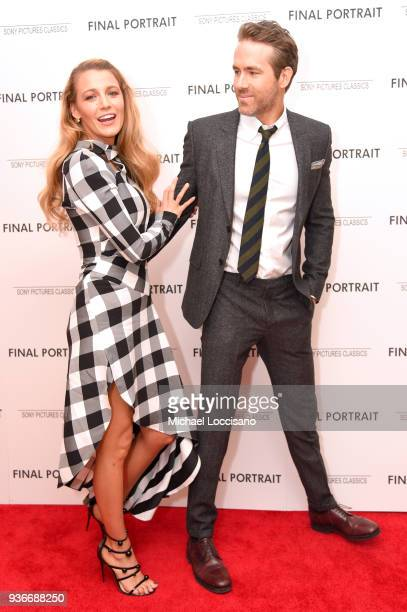 Actors Blake Lively and Ryan Renolds attend the Final Portrait New York Screening at Guggenheim Museum on March 22 2018 in New York City