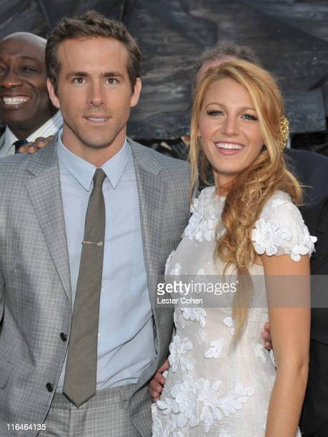 Actors Blake Lively and Ryan Reynolds arrive at the 'Green Lantern' Los Angeles Premiere held at at Grauman's Chinese Theatre on June 15 2011 in...
