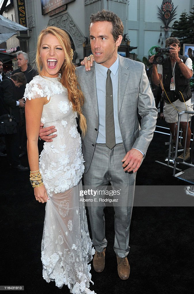 Actors Blake Lively (L) and Ryan Reynolds arrive at the premiere of Warner Bros. Pictures' 'Green Lantern' held at Grauman's Chinese Theatre on June 15, 2011 in Hollywood, California.