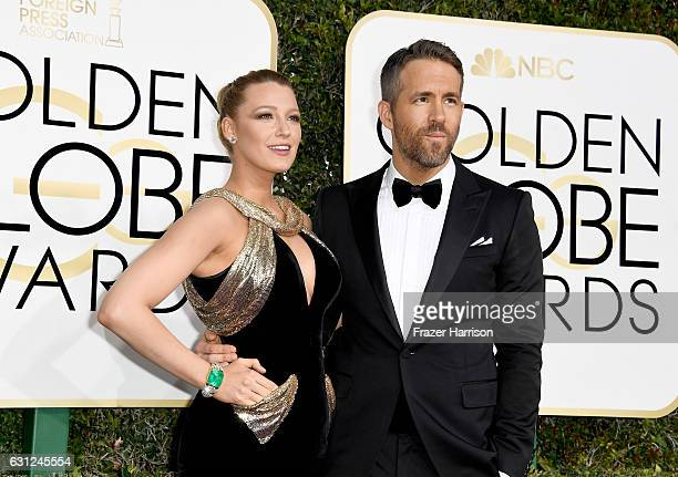 Actors Blake Lively and Ryan Reynolds attend the 74th Annual Golden Globe Awards at The Beverly Hilton Hotel on January 8 2017 in Beverly Hills...