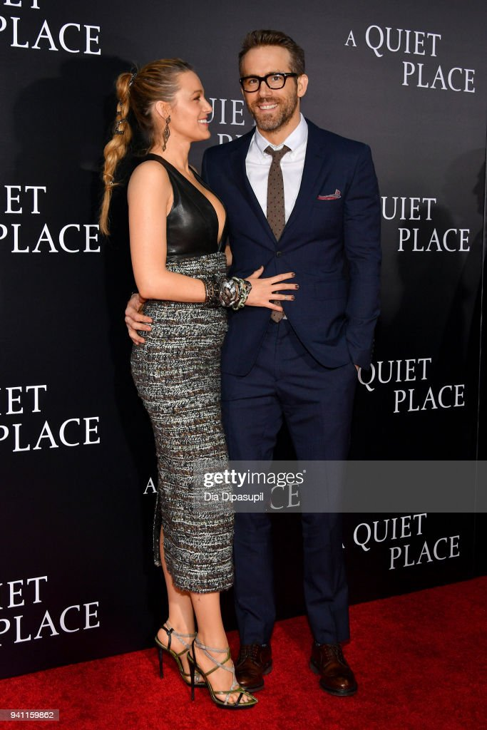 Actors Blake Lively and Ryan Reynolds attend the 'A Quiet Place' New York Premiere at AMC Lincoln Square Theater on April 2, 2018 in New York City.