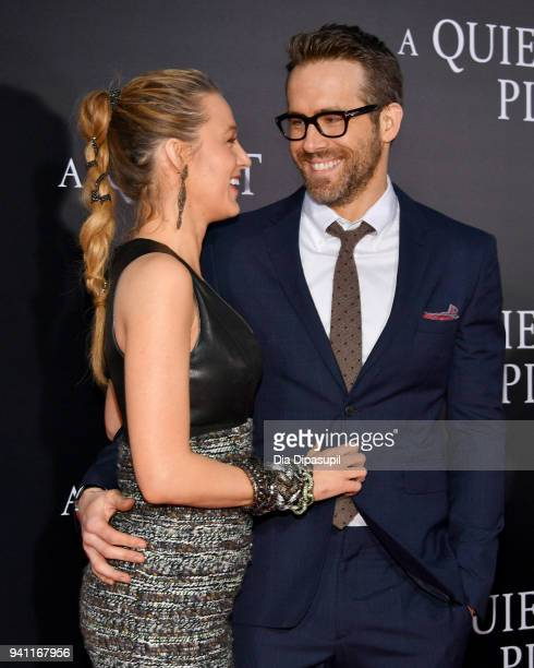 Actors Blake Lively and Ryan Reynolds attend the A Quiet Place New York Premiere at AMC Lincoln Square Theater on April 2 2018 in New York City