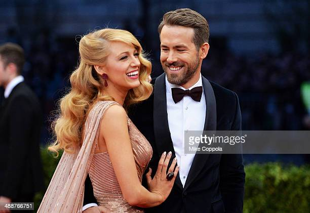 Actors Blake Lively and Ryan Reynolds attend the Charles James Beyond Fashion Costume Institute Gala at the Metropolitan Museum of Art on May 5 2014...