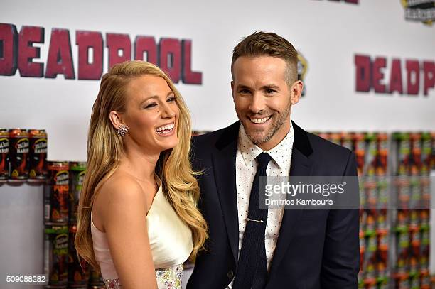 Actors Blake Lively and Ryan Reynolds attend the Deadpool fan event at AMC Empire Theatre on February 8 2016 in New York City