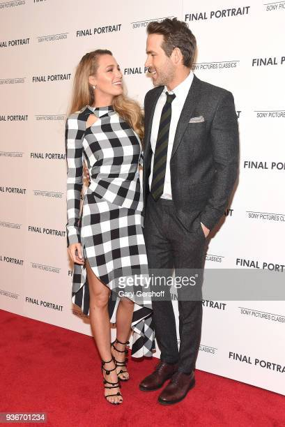 Actors Blake Lively and Ryan Reynolds attend the Final Portrait New York screening at Guggenheim Museum on March 22 2018 in New York City