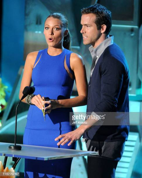 Actors Blake Lively and Ryan Reynolds speak onstage during the 2011 MTV Movie Awards at Universal Studios' Gibson Amphitheatre on June 5 2011 in...