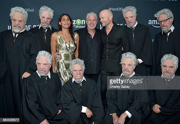 Actors Blake Perlman Ron Perlman and director/producer Marc Forster attend the Amazon premiere screening for original drama series Hand Of God at The...