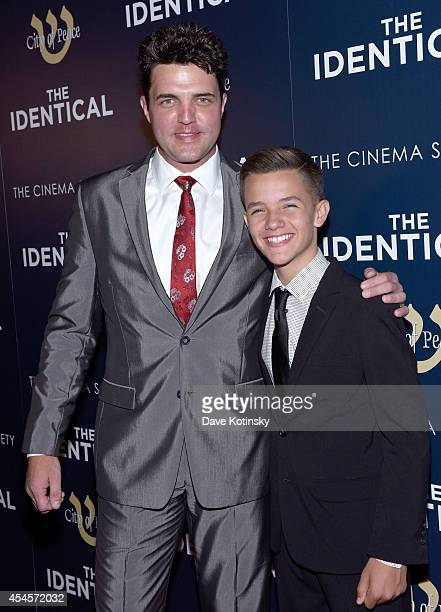 Actors Blake Rayne and Noah Urrea attend City of Peace Films and The Cinema Society host the world premiere of The Identical at SVA Theater on...