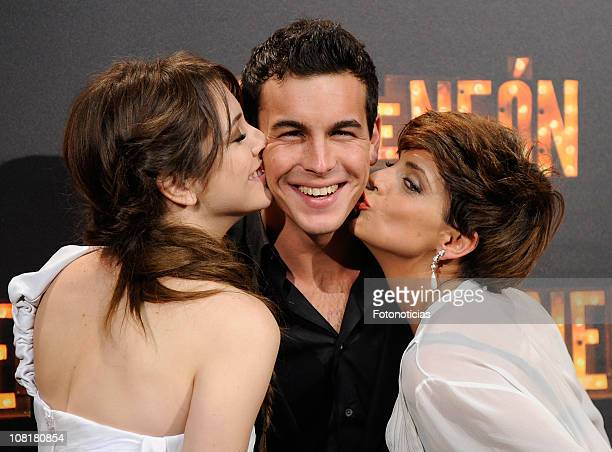 Actors Blanca Suarez Mario Casas and Macarena Gomez attend 'Carne de Neon' premiere at Capitol Cinema on January 19 2011 in Madrid Spain