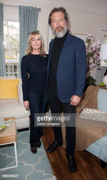 Actors Bo Derek and John Corbett visit Hallmark's Home Family at Universal Studios Hollywood on March 20 2018 in Universal City California