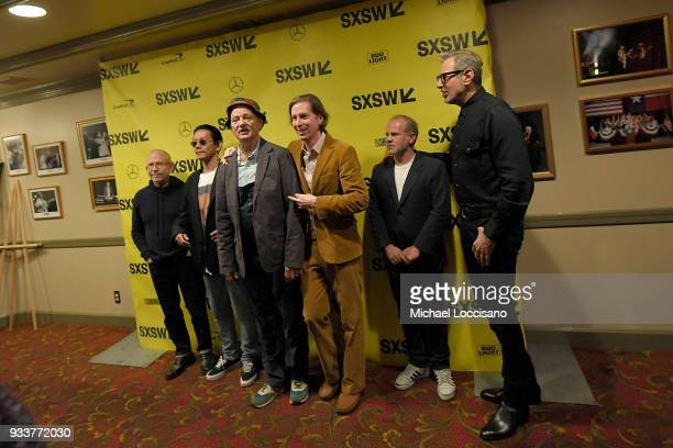 Actors Bob Balaban Kunichi Nomura and Bill Murray writer and director Wes Anderson producer Jeremy Dawson and actor Jeff Goldblum attend the Isle of...