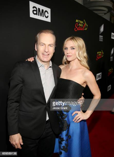 Actors Bob Odenkirk and Rhea Seehorn attend AMC's 'Better Call Saul' season 3 premiere at ArcLight Cinemas on March 28 2017 in Culver City California