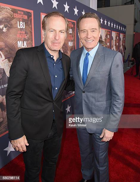 Actors Bob Odenkirk left and Bryan Cranston attend the 'All The Way' Los Angeles Premiere at Paramount Studios on May 10 2016 in Hollywood City