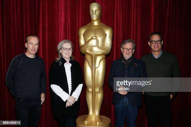 Actors Bob Odenkirk Meryl Streep director and producer Steven Spielberg and actor Tom Hanks attend The Academy of Motion Picture Arts Sciences...