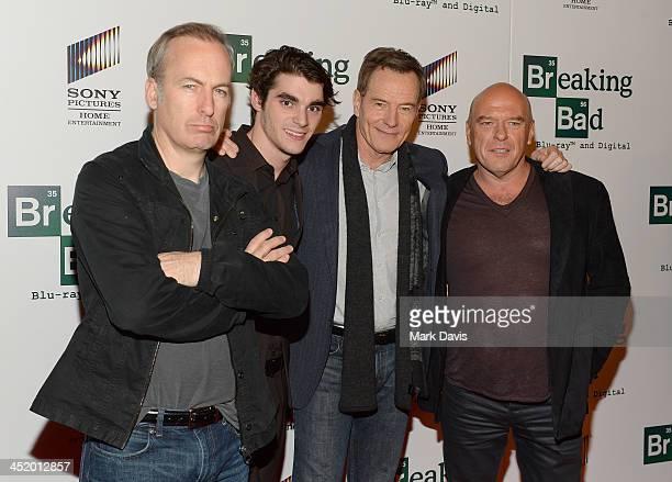 "Actors Bob Odenkirk, RJ Miite, Bryan Cranston and Dean Norris arrive at the screening of ""No Half Measures: Creating The Final Season Of Breaking..."