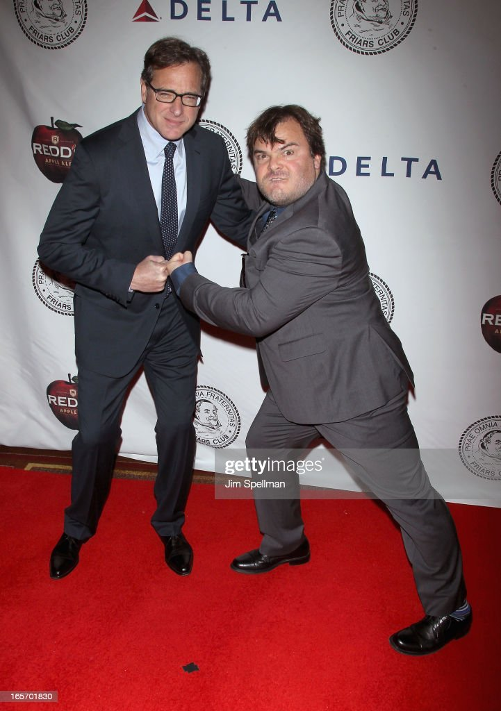 Actors Bob Saget and Jack Black attend The Friars Club Roast Honors Jack Black at New York Hilton and Towers on April 5, 2013 in New York City.