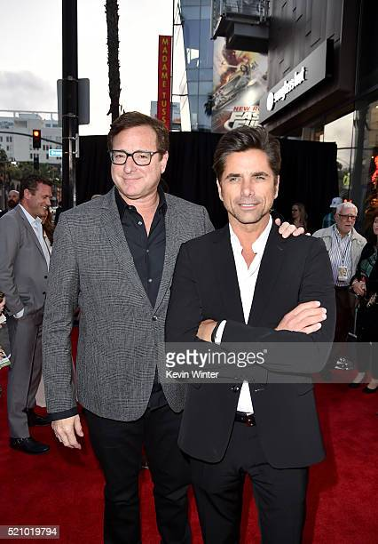 Actors Bob Saget and John Stamos attend Open Roads World Premiere of 'Mother's Day' at TCL Chinese Theatre IMAX on April 13 2016 in Hollywood...