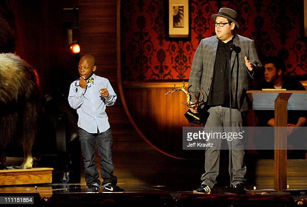 Actors Bobb'e J Thompson and Jonah Hill onstage at Spike TV's 2009 'Guys Choice Awards' held at the Sony Studios on May 30 2009 in Los Angeles...