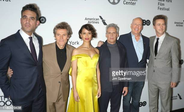 Actors Bobby Cannavale Willem Dafoe Gugu MbathaRaw Josh Pais Bruce Willis and director/actor Edward Norton attend the Motherless Brooklyn premiere...
