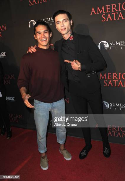 Actors Boo Boo Stewart and actor Andy Biersack arrive for the Premiere Of Miramax's 'American Satan' held at AMC Universal City Walk on October 12...