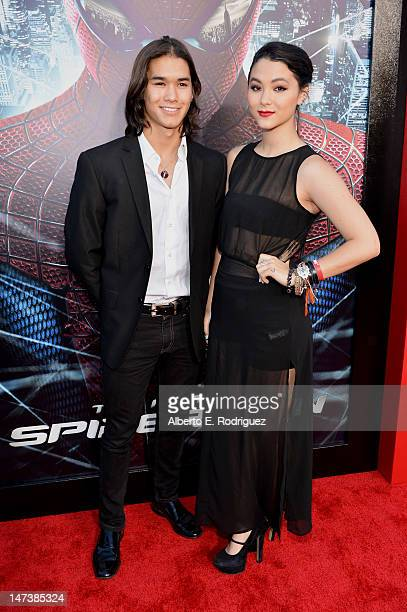 Actors Booboo Stewart and Fivel Stewart arrive at the premiere of Columbia Pictures' The Amazing SpiderMan at the Regency Village Theatre on June 28...