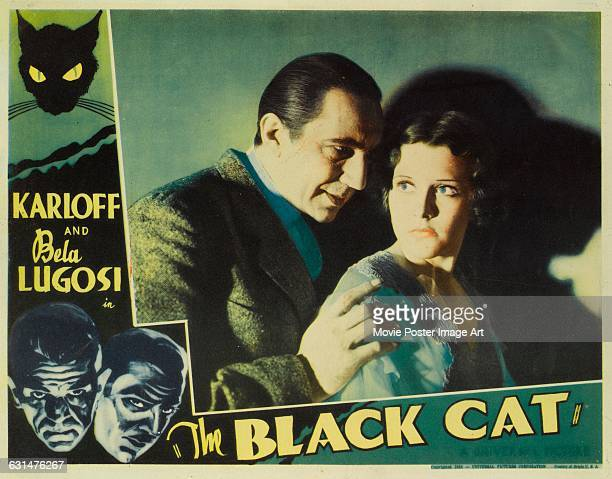 Actors Boris Karloff Bela Lugosi and Julie Bishop appear on a lobby card for the 1934 horror film 'The Black Cat' directed by Edgar G Ulmer for...
