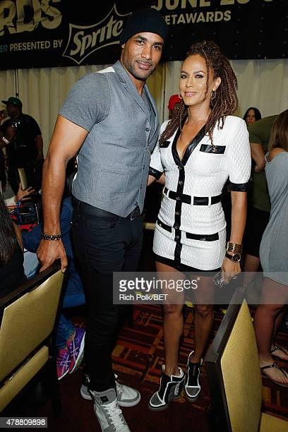 Actors Boris Kodjoe and Nicole Ari Parker attend day 2 of the radio broadcast center during the 2015 BET Experience on June 27 2015 in Los Angeles...