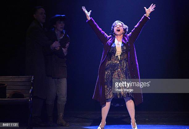 R Actors Boyd Gaines Laura Benanti and Patti LuPone of 'Gypsy' on stage during the 62nd Annual Tony Awards at Radio City Music Hall on June 15 2008...