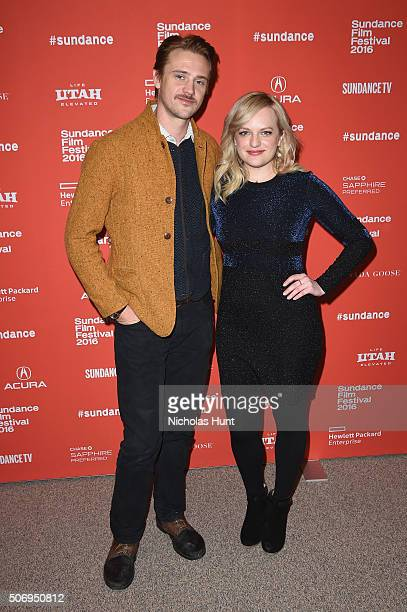 Actors Boyd Holbrook and Elisabeth Moss attend the 'The Free World' Premiere during the 2016 Sundance Film Festival at Eccles Center Theatre on...