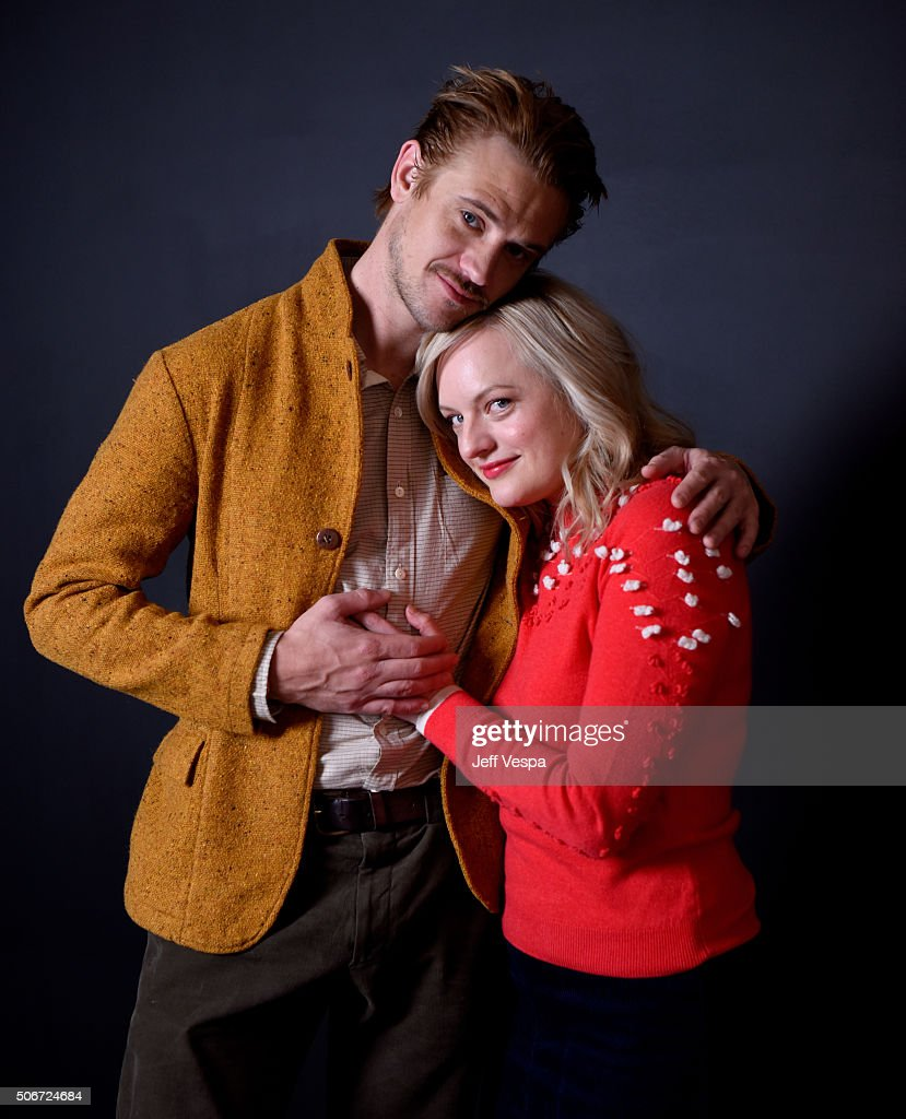 Actors Boyd Holbrook (L) and Elisabeth Moss from the film 'The Free World' pose for a portrait during the WireImage Portrait Studio hosted by Eddie Bauer at Village at The Lift on January 25, 2016 in Park City, Utah.