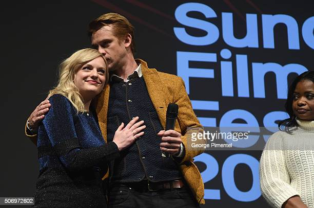 Actors Boyd Holbrook Elisabeth Moss and Octavia Spencer speak onstage at the 'The Free World' Premiere during the 2016 Sundance Film Festival at...