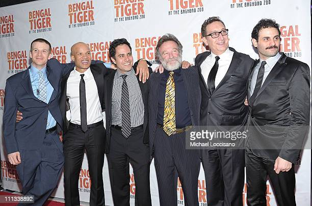 Actors Brad Fleischer Glenn Davis playwright Rajiv Joseph actor Robin Williams director Moises Kaufman and actor Arian Moayed attend the after party...