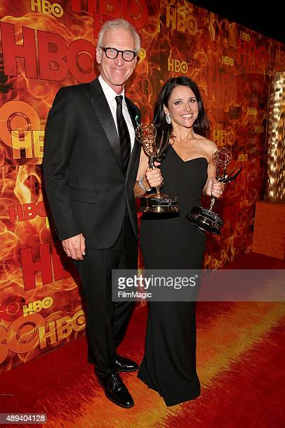 Actors Brad Hall and Julia LouisDreyfus attend HBO's Official 2015 Emmy After Party at The Plaza at the Pacific Design Center on September 20 2015 in...