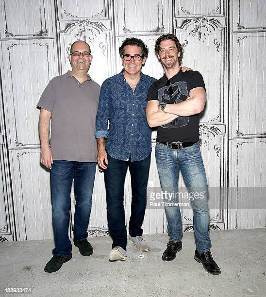 Actors Brad Oscar, Brian d'Arcy James and Christian Borle attend AOL Build speaker series at AOL Studios In New York on September 18, 2015 in New...