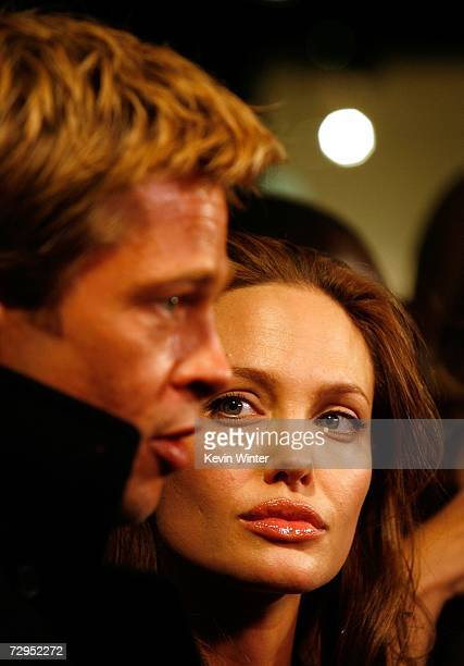 Actors Brad Pitt and Angelina Jolie arrive at Newmarket Films premiere of 'God Grew Tired of Us' at the Pacific Design Center on January 8 2007 in...