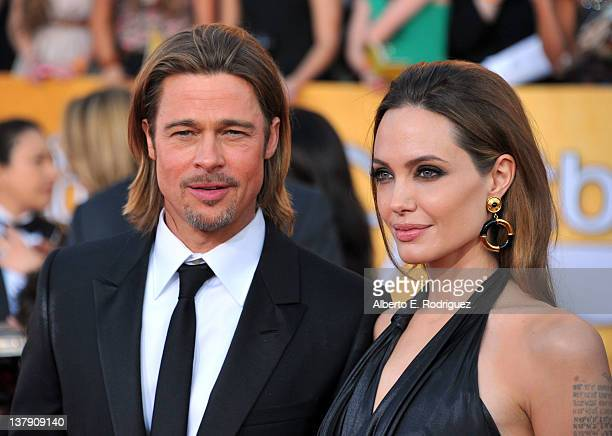 Actors Brad Pitt and Angelina Jolie arrive at the 18th Annual Screen Actors Guild Awards at The Shrine Auditorium on January 29 2012 in Los Angeles...