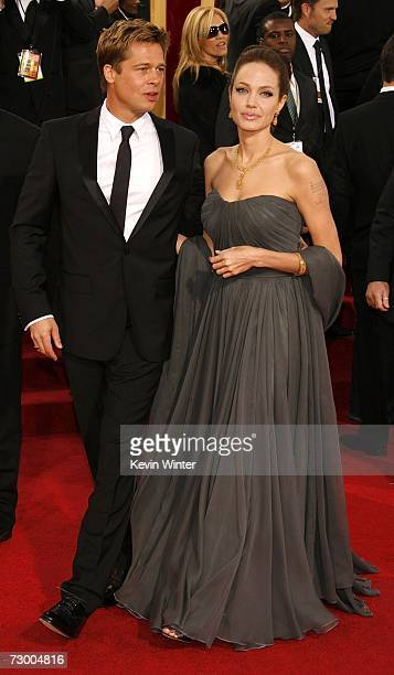 Actors Brad Pitt and Angelina Jolie arrive at the 64th Annual Golden Globe Awards at the Beverly Hilton on January 15 2007 in Beverly Hills California