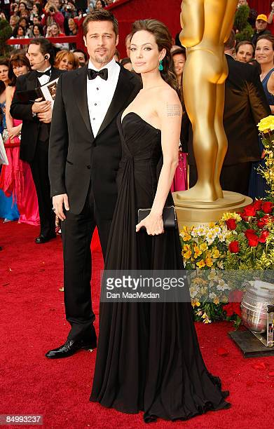 Actors Brad Pitt and Angelina Jolie arrive at the 81st Academy Awards at The Kodak Theatre on February 22 2009 in Hollywood California