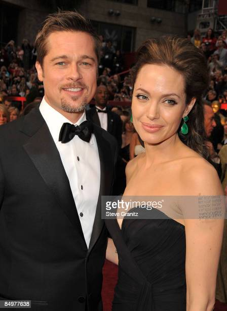 Actors Brad Pitt and Angelina Jolie arrive at the 81st Annual Academy Awards held at The Kodak Theatre on February 22, 2009 in Hollywood, California.