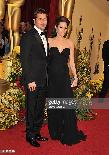 Actors Brad Pitt and Angelina Jolie arrive at the 81st Annual Academy Awards held at The Kodak Theatre on February 22 2009 in Hollywood California