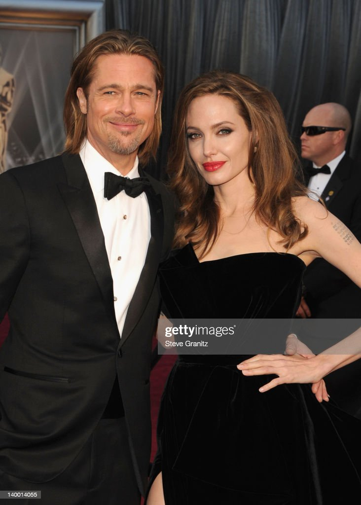 Actors Brad Pitt and Angelina Jolie arrive at the 84th Annual Academy Awards held at the Hollywood & Highland Center on February 26, 2012 in Hollywood, California.