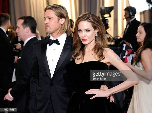 Actors Brad Pitt and Angelina Jolie arrive at the 84th Annual Academy Awards held at the Hollywood & Highland Center on February 26, 2012 in...