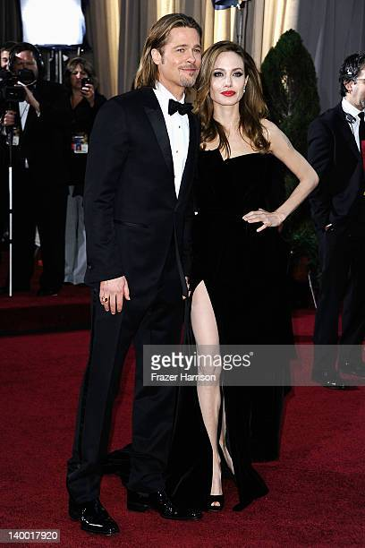 Actors Brad Pitt and Angelina Jolie arrive at the 84th Annual Academy Awards held at the Hollywood Highland Center on February 26 2012 in Hollywood...
