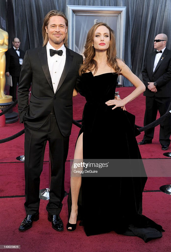 Actors Brad Pitt and Angelina Jolie arrive at the 84th Annual Academy Awards at Hollywood & Highland Center on February 26, 2012 in Hollywood, California.