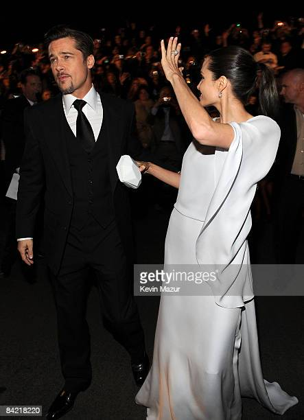 Actors Brad Pitt and Angelina Jolie arrive on the red carpet at VH1's 14th Annual Critics' Choice Awards held at the Santa Monica Civic Auditorium on...