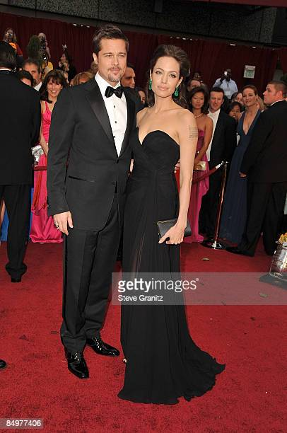 Actors Brad Pitt and Angelina Jolie arrives at the 81st Annual Academy Awards held at The Kodak Theatre on February 22, 2009 in Hollywood, California.